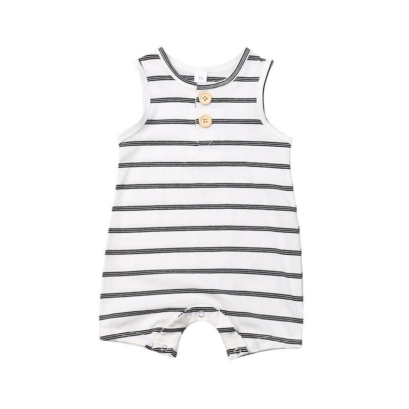 Summer 2019 Baby Girls Boys Striped Cotton Bodysuits Newborn Kids Sleeveless Loose Soft Jumpsuits Casual Toddler Body Clothing