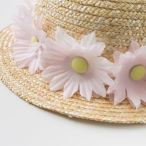 Image 3 - DB10478 dave bella ฤดูร้อนเด็กทารกสีเหลืองโบว์หมวกเด็กแฟชั่นดอกไม้ฟางหมวก