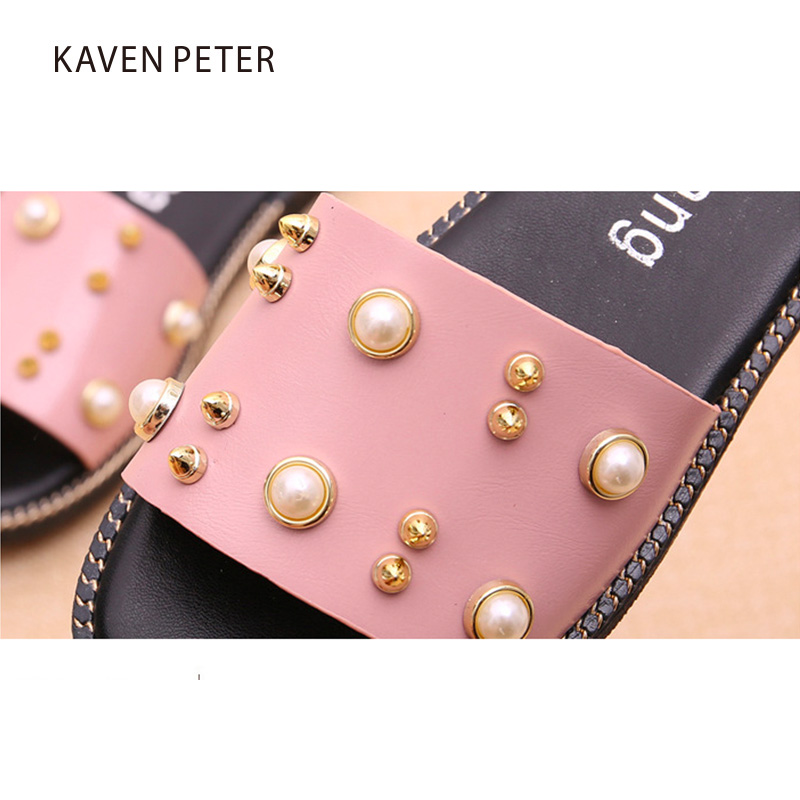 7562b410c8f 2017 Summer Children slipper sandals girls beach shoes for kids chaussure  enfant Fashion pearls rivets mix chaussure garcon -in Sandals from Mother    Kids ...