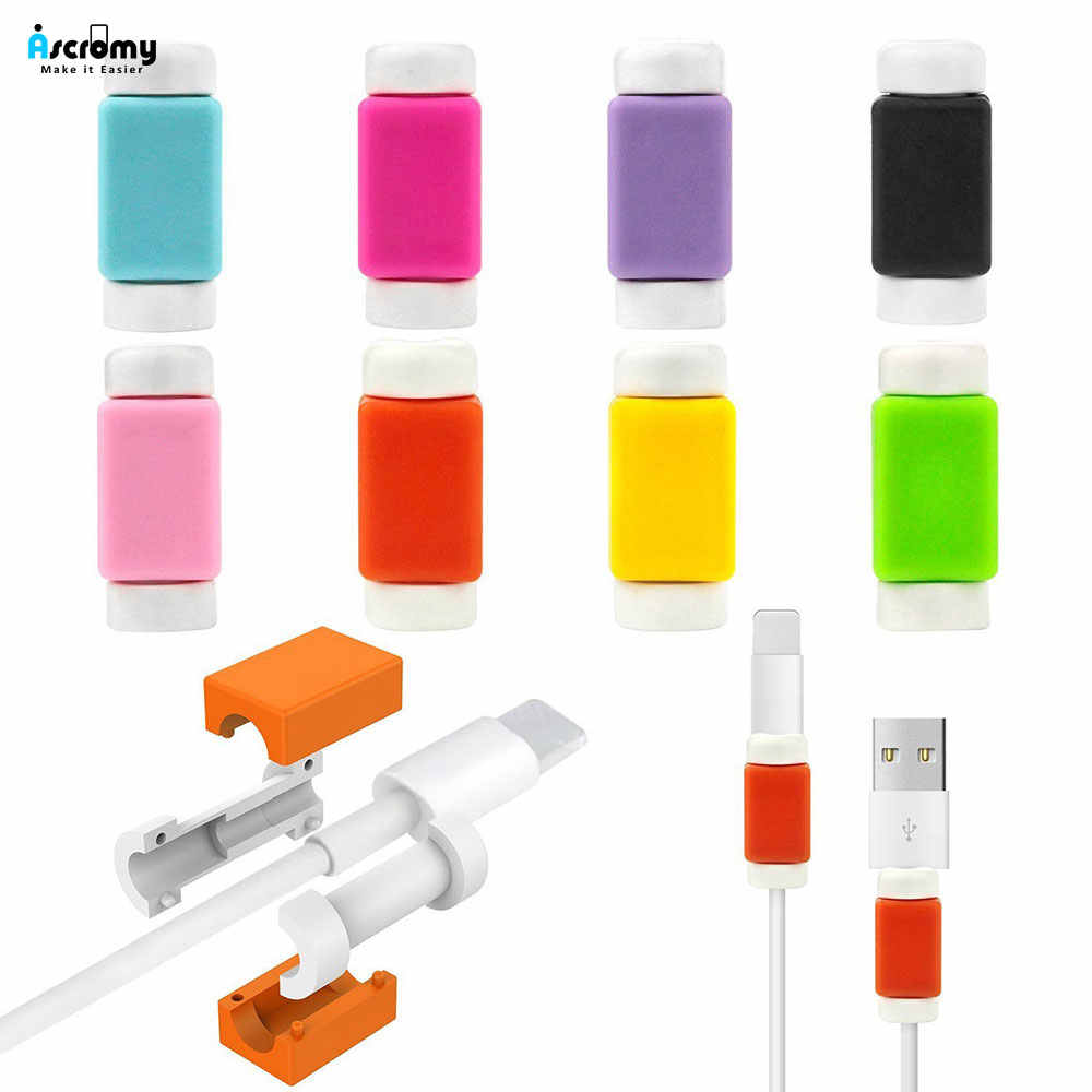 10PCS Cable Saver Protector Silicone Case for Apple iPhone X XS Max XR 6 6S 7 8 Plus 5 5S SE 10 11 Pro Mobile Phone Accessories
