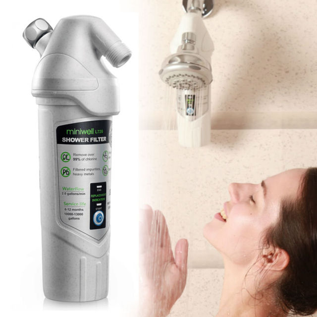 buy miniwell l720 shower water filter remove chlorine care skin hair for home. Black Bedroom Furniture Sets. Home Design Ideas