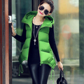 Long Vest Women 2017 Veste Femme Winter Vests Ladies Hooded Solid Slim Coats Coletes Femininos Outerwear Casaco Feminino Y119