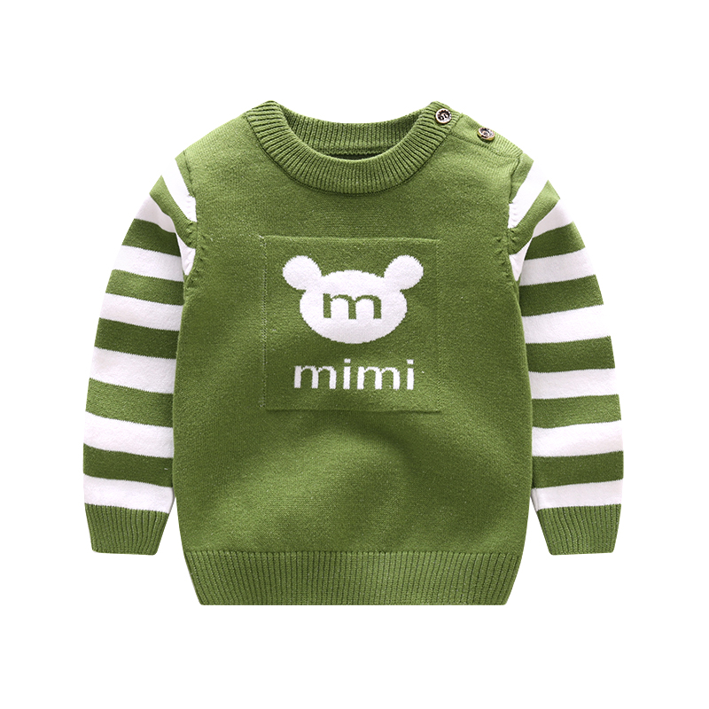 Fashion Baby Boys Sweater Striped Long Sleeve O-Neck Pullovers Soft Cotton Infant Sweater Letter Baby Sweater Baby Boys Clothing