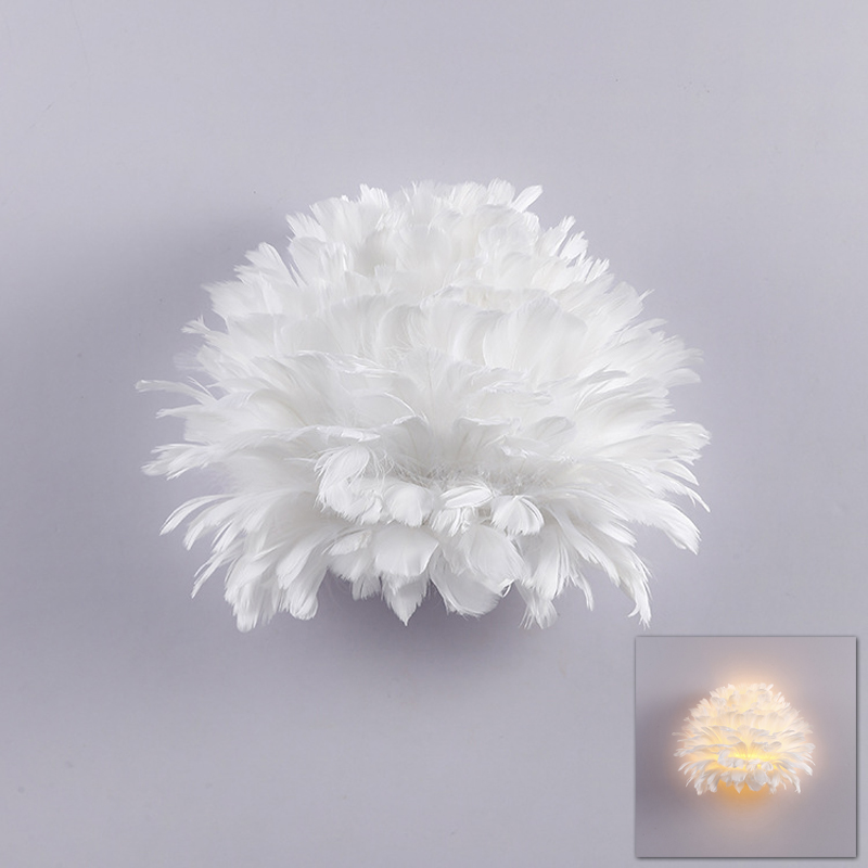 European nordic modern feather wall light lamp sconce LED foyer living room bedroom bedside plume feather