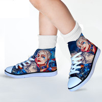 ELIVSWORDS 3D Harley Quinn Printing Vulcanize Shoes For Teenager Girls Casual Szie 29 34 Sneakers Kids Flats Women Footwear 2018