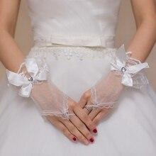 Gloves Lace Wedding-Accessory Fingerless Rhinestone Bridal Floral Short Bowknot Heart