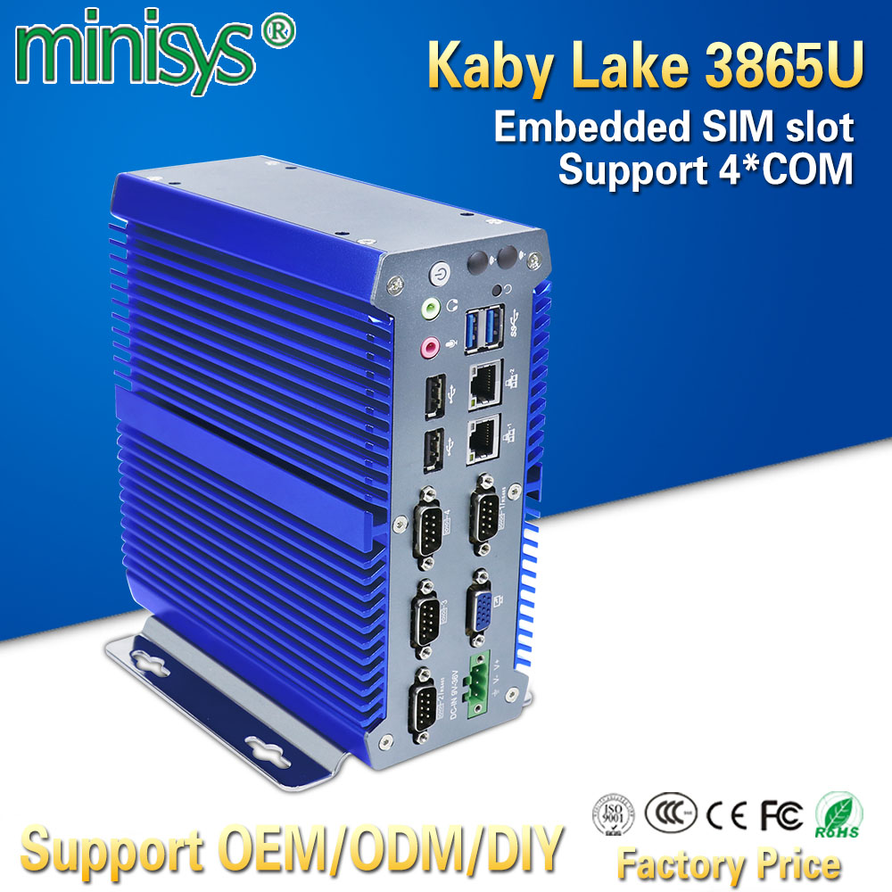 Minisys Ultra Compact Mini PC Industrial Kabylake 3865U Dual Core 2 Intel Nic Windows 10 Computer With 4 COM Ports Support 3G/4G