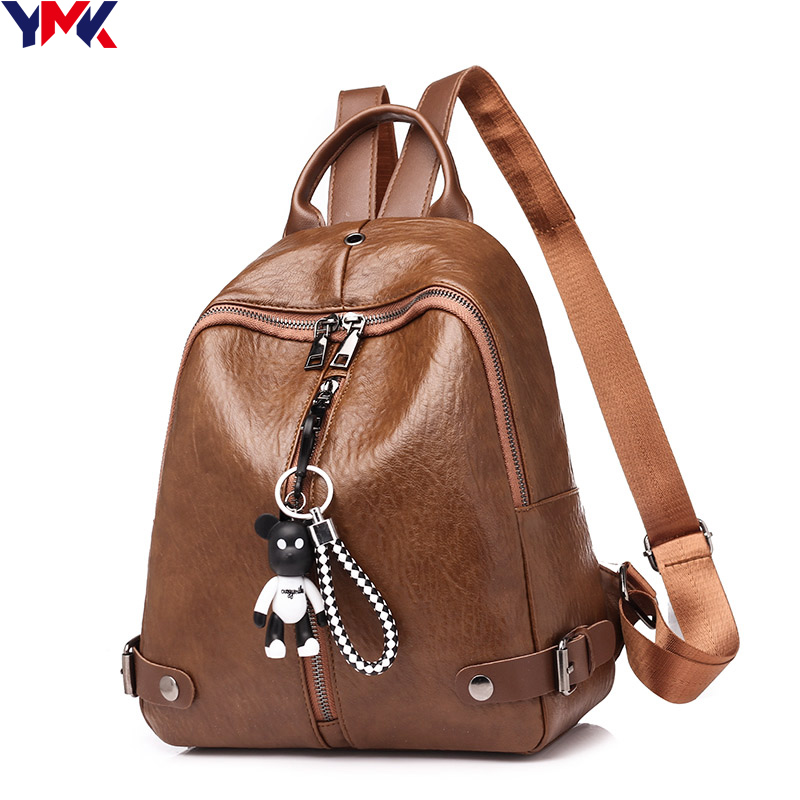 YMK Brand PU Leather Women Backpack School Bags For Teenager Girls Large Capacity Casual Women Vintage Bag Mochila Feminina