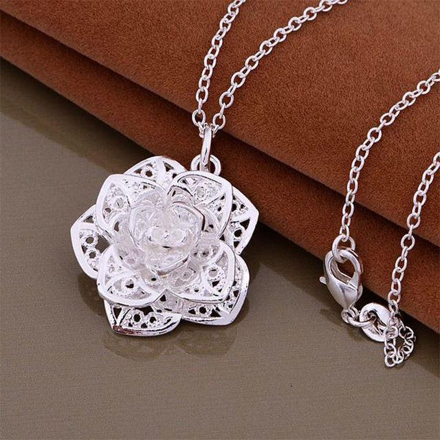 1 pc hot women heart flower pendant necklace chain jewelry new 1 pc hot women heart flower pendant necklace chain jewelry new fashion nice gift for lady negle Images