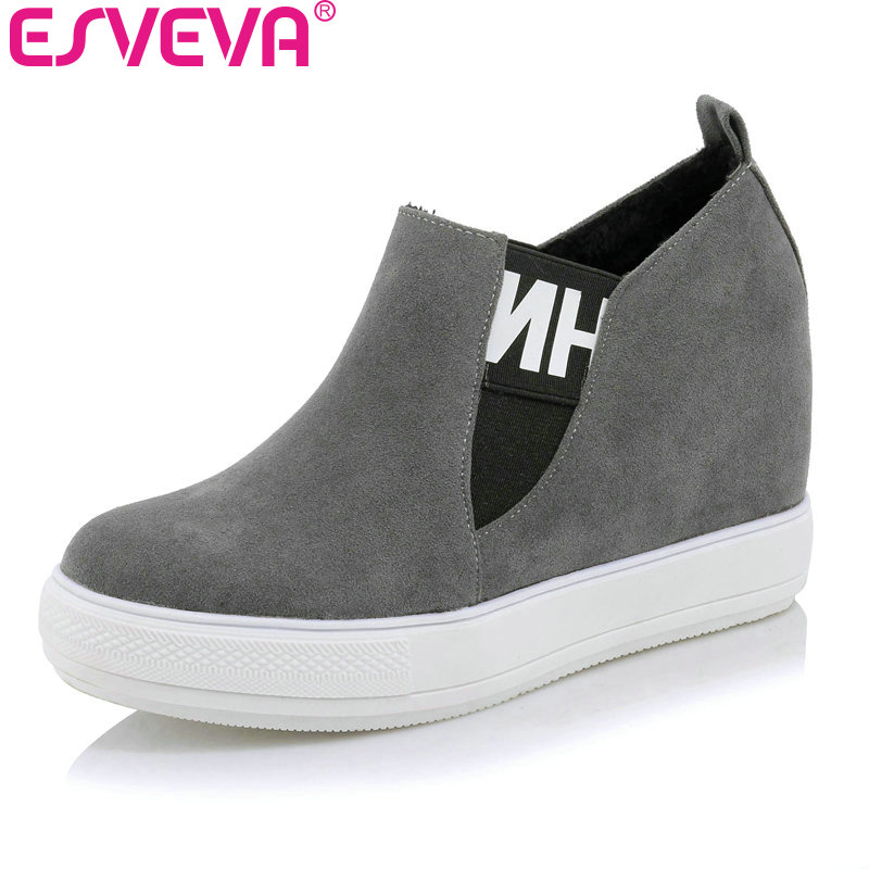 ESVEVA 2017 Wedges High Heel Platform Women Pumps Casual Flock Women Shoes Slip on Western Style Spring Autumn Pumps Size 34-43 nayiduyun women genuine leather wedge high heel pumps platform creepers round toe slip on casual shoes boots wedge sneakers