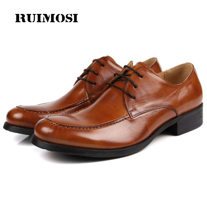 RUIMOSI Fashion Formal Man Bridal Dress Shoes Genuine Leather Designer Oxfords Luxury Brand Men's Wedding Footwear For Male EC96
