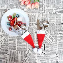 Christmas Decorative tableware Knife Fork Set  Chrismas Hat Storage Tool Hot New Beautiful drop-Shipping Oct12