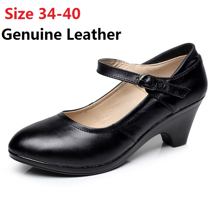 ФОТО New arrival women genuine leather shoes pumps woman cowhide leather black formal work shoes women's party shoes small size