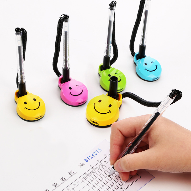 0.5mm Cute Creative Cartoon Smiley Smooth Writing Gel Pen Bank Counter Front Desk Fixed Neutral Pens For Writing Office Supplies
