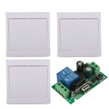 AC 220V 10A Relay Wireless Remote Control Switch 3PCS Wall Panel Remote Transmitter Hall Bedroom Ceiling Lights Wall Lamps New
