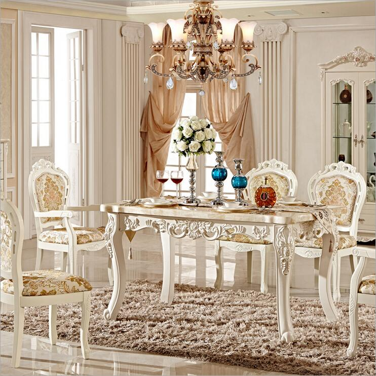 где купить Antique Style Italian Dining Table, 100% Solid Wood Italy Style Luxury marble Dining Table Set pfy10052 дешево