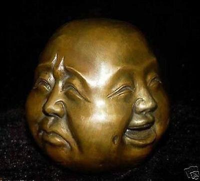 Crafts Arts super 4 expression Copper Face Buddha Tibet 8.5x8x7cm Garden Decoration 100% real Brass Bronze