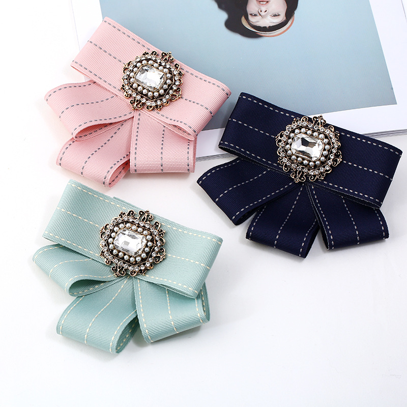 Korea Handmade England Academy Striped Fabric Rhinestone Shirt Pin Neck Bow  Tie Apparel Accessories Fashion Jewelry CDNLB001F-in Brooches from Jewelry  ... 1da71c703b38