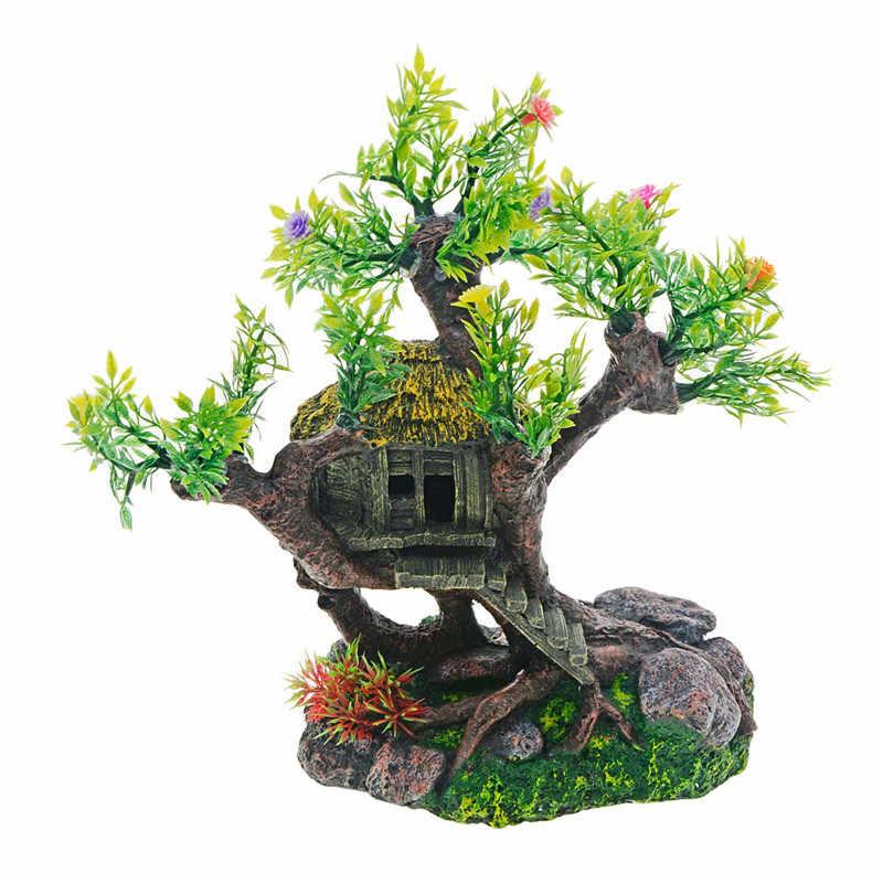 حوض السمك الديكور الراتنج منزل خشبي قديم البلاستيك شجرة ورد ديكور نابض بالحياة الاصطناعي الراتنج الحرف ل خزان حوض أسماك