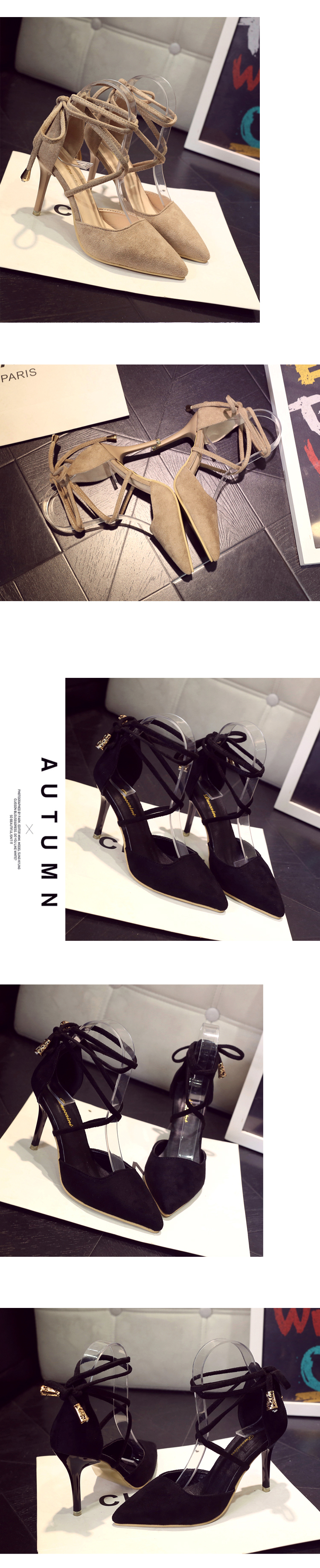 High Quality Brand Pointed Toe Women Pumps Summer Fashion High Heels Shoes Back Strap Thin Heels Pumps Solid Shoes 19