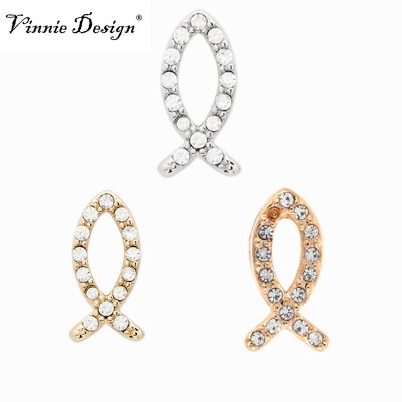 Vinnie Design Jewelry Fish Sign Slide Charms Key fit on Keeper Bracelet 10pcs/lot