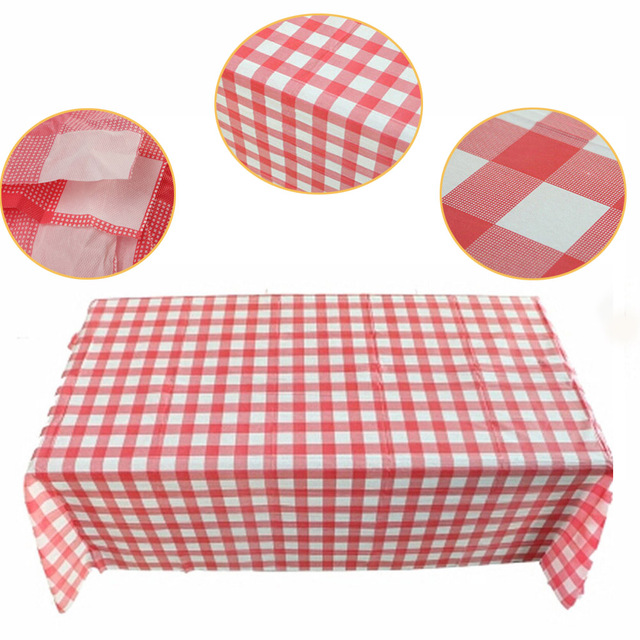 1pcs 160cm 160cm Table Cloth Red Gingham Plastic Disposable Wipe