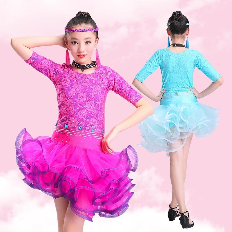 2018 Lace Half Sleeve Dresses Girls Dress For Dance Kids Children Latin Dance Dresses Salsa Skirt Dancewear Latin Girls Rumba