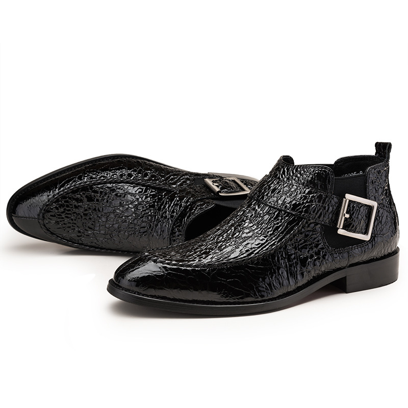 En Tendencia Botas Trabajo Black Slip Wine Vestido Cuero Zapatos red Diseño De Moda Lujo Los Chelsea Tobillo Punta Hombres qXHW4P6w
