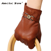 Merk Lederen Handschoenen Lente Herfst Dunne Mode Trend Vrouwen Schapenvacht Handschoenen Vinger Rijden Handschoen L093NN