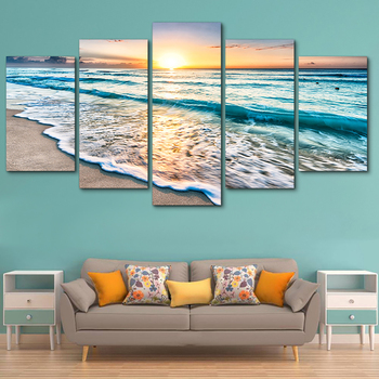 Tableau Wall Art HD Print Paintings Modular Posters Pictures Canvas 5 Panel Waves On Beach At Sunset Seascape Home Decor Modern classic lion series paintings 5 piece large canvas print wall art modular painting on decoration pictures zt 3 60