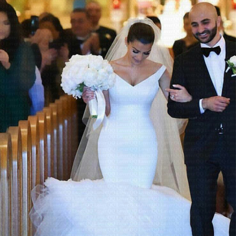2019 Arabic Amazing Off The Shoulder Mermaid Wedding Dress V-Neck Bridal Gowns Vestido De Novia