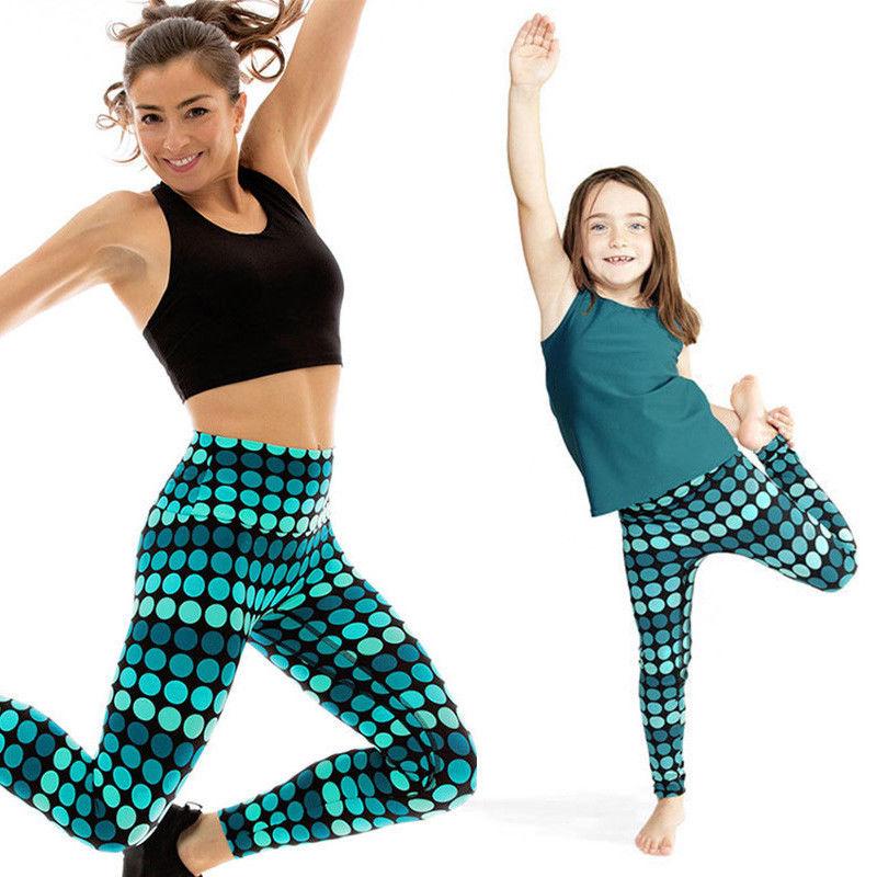 2017 Brand New Yoga Pants Kid Girl Women Family Stretch -3929