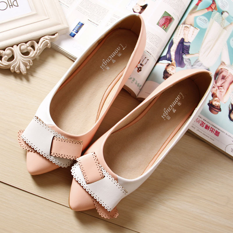 Spring Footwear Women Ballet Boat Flats Shoes Sweet Elegant Shoes Woman Slipony Mix Color Pointed Toe Ladies Boat Shoes Big Size new 2017 spring summer women shoes pointed toe high quality brand fashion womens flats ladies plus size 41 sweet flock t179