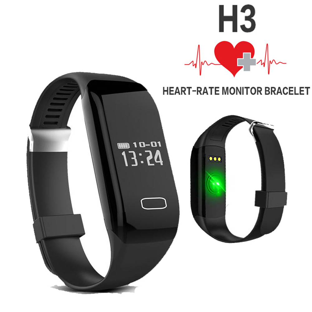 Sports Passometer Smartwatch H3 Heart Rate Monitor SmartBand Wristband bluetooth smart watch For ios font b