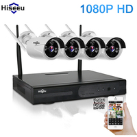 Hiseeu 4CH 1080P Wireless NVR Kit CCTV System IR CUT Bullet CCTV Camera 2 0MP IP