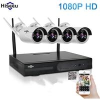 Hiseeu 4CH 1080P Wireless NVR Kit CCTV System IR CUT Bullet CCTV Camera 2 0MP IP