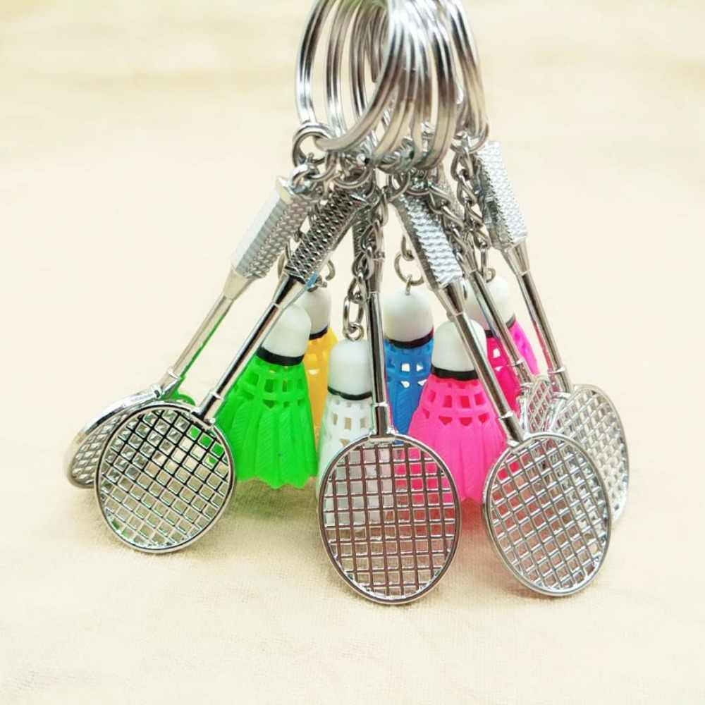 Newly Portable 3D Badminton Racket KeyChain Car Bag keyring Pendant Jewelry Key Chain Key Rings
