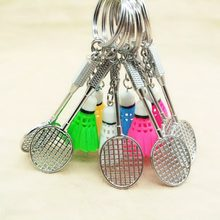 Newly Portable 3D Badminton Racket KeyChain Car Bag keyring Pendant Jewelry Key Chain Key Rings(China)