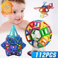 112PCS Magnetic Constructor Building Blocks Toy 3D DIY Enlighten Bricks Kids Educational Plastic Gifts For Children