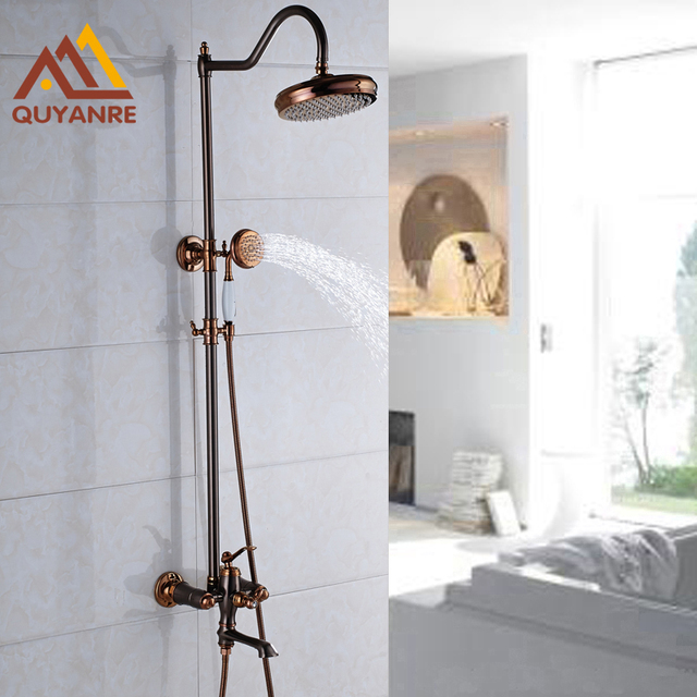 Rose Gold Oil Rubbed Bronze Bath Shower Faucets With Handshower And Tub Filler Mixer