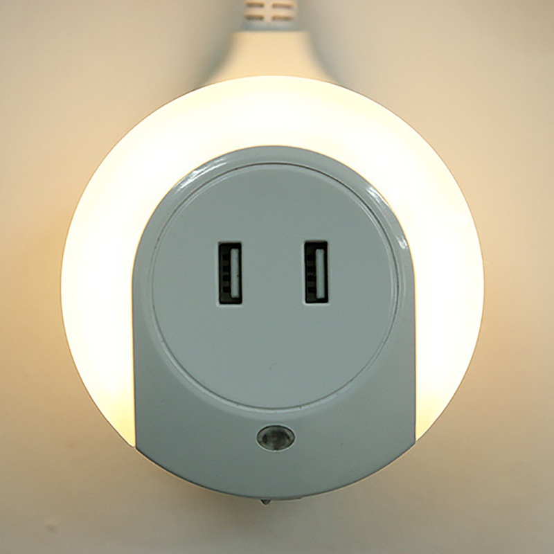New New Design LED Night Light with Light Sensor and Dual USB Wall Plate Charger Perfect ...