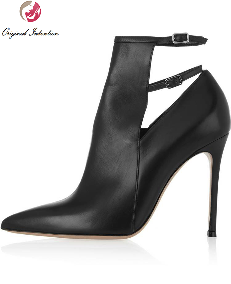 Original Intention Elegant Women Pumps Pointed Toe Thin Heels Pumps Office& Career Shoes Woman Plus Size 4-15 original intention women shoes elegant pointed toe ankle strap spring autumn style pumps woman high heels office shoes plus size