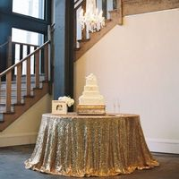 Factory Directly Wholesale 10PCS Wedding Decorative Gold Glitter Sequin Tablecloth 120'' Round Sequin Table Cloth Table Runner