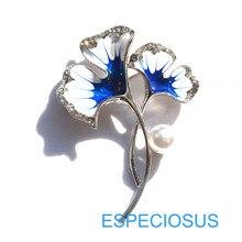 Классическая Ювелирная брошь в виде листьев элегантная булавка гинкго окрашенные родиевым цветом стразы на груди жирафа булавка синего цвета женская одежда