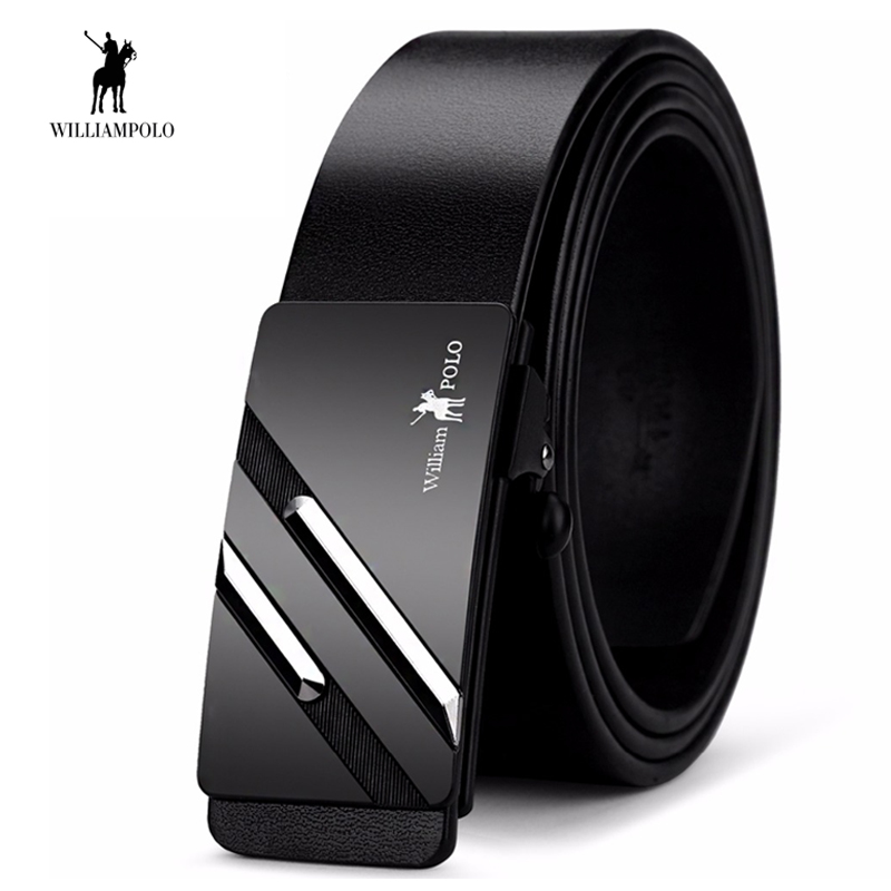 WilliamPOLO Mens   Belt   Luxury Male Metal Automatic Buckle Male Genuine Leather   Belt   Fashion Cowskin   Belt   High Quality
