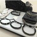 Nova chegada anil arjandas homens pulseiras, 15 pcs rolhas de prata micro pave cz preto beads trança macrame pulseira para homens