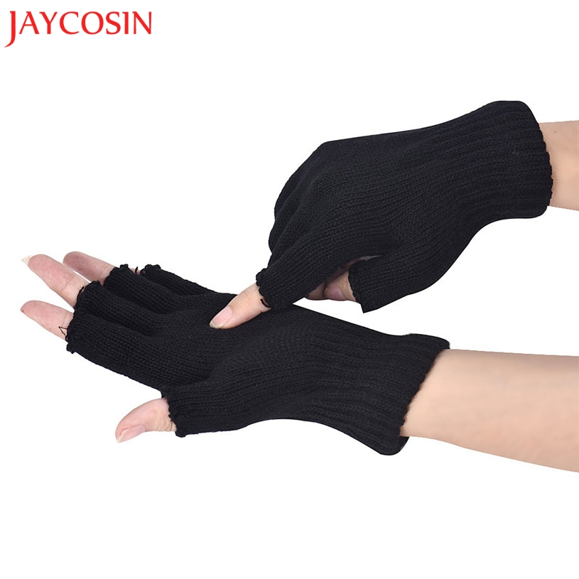 JAYCOSIN Gloves Women Men Autumn Black Knitted Stretch Elastic Warm Half Finger Fingerless Gloves Femal Mittens Feb 2
