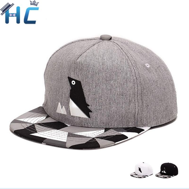 Prix pour 2016 Nouveau Snapback Casquette de baseball Belle Pingouin Motif Chapeau Pour hommes Femmes Gorras Os Casquette Plat Visor Cap Hip Hop Cap