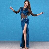 Belly Dance Dress Female Adult New Practice Clothes For Women Sexy Velvet Split Long Skirt Bellydance Performance Set DL3179