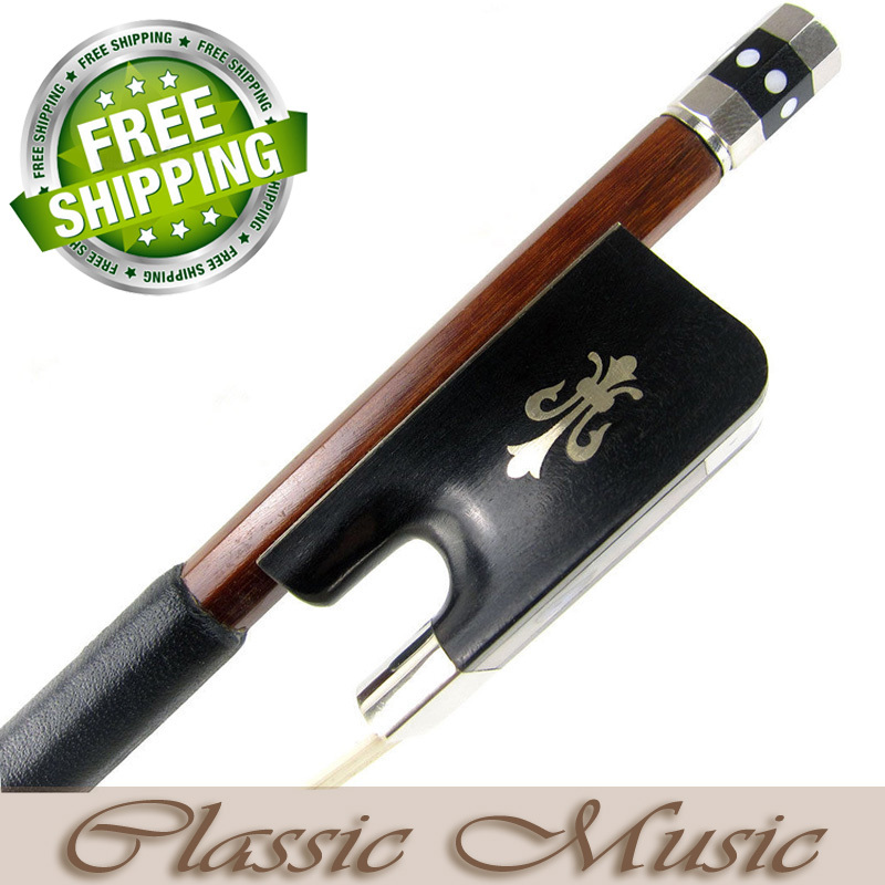 Silver Pernambuco Cello Bow with Fleur-de-Lys Inlaid Ebony Frog (4/4), Good Mongolian Horse Hair. free shipping 4 4 size 430c pernambuco cello bow high quality ebony frog with shield pattern white hair cello parts accessories